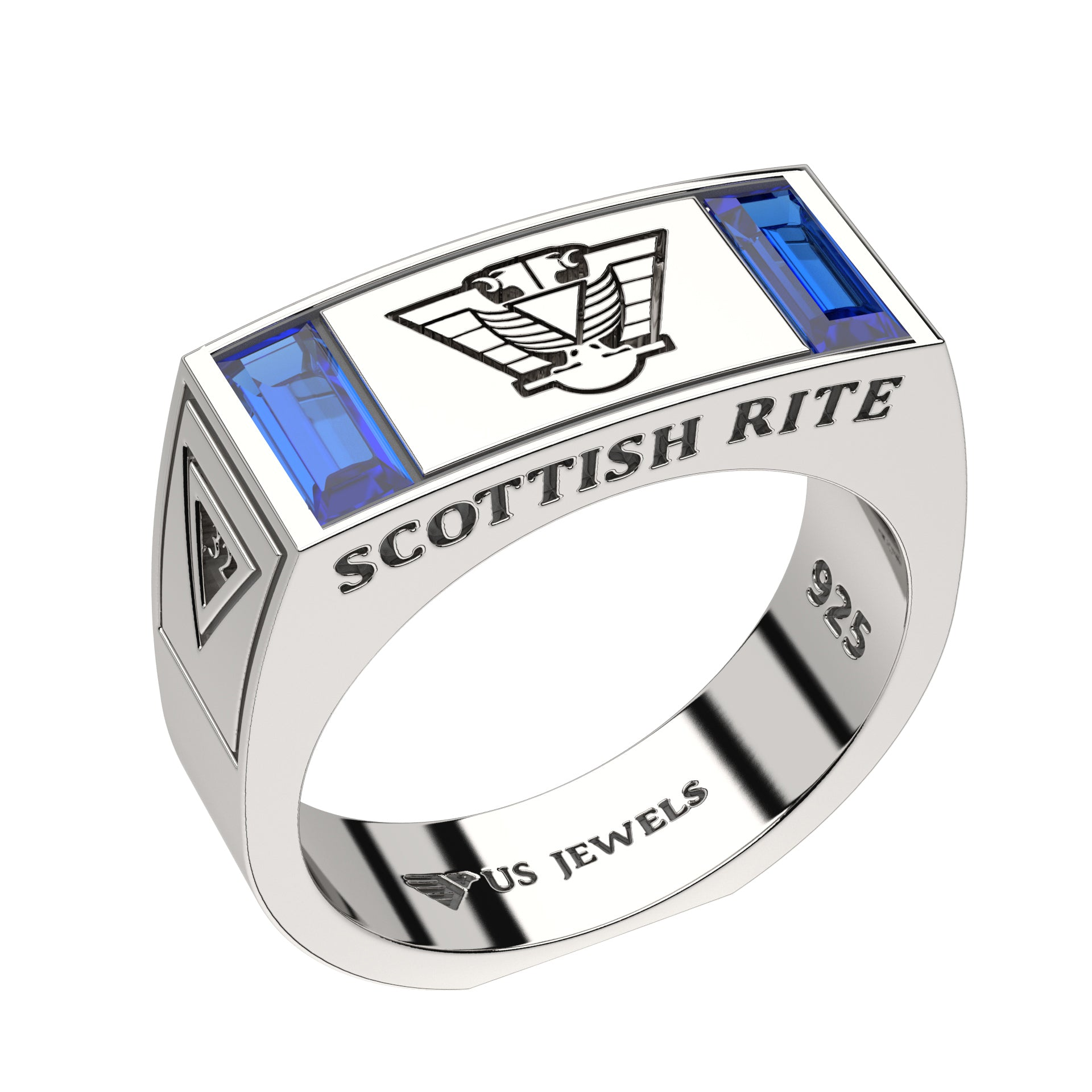 Masonic Ring Scottish Rite With Synthetic Sapphire