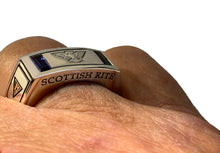 Masonic Ring Scottish Rite Synthetic Sapphire For Men