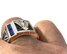 Masonic Ring Scottish Rite Simulated Sapphire Gemstone