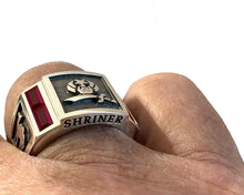 Masonic Ring Freemason Shriner Simulated Ruby Gemstone