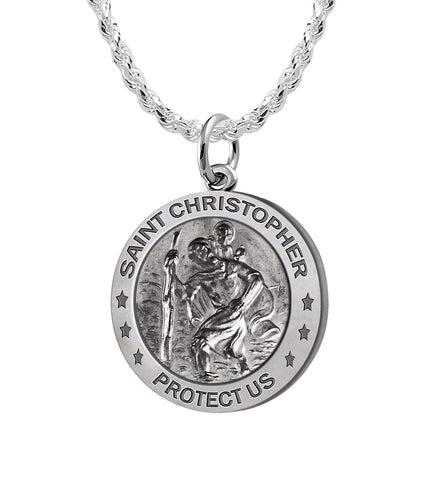St Christopher Necklace - Pendant Necklace In Silver