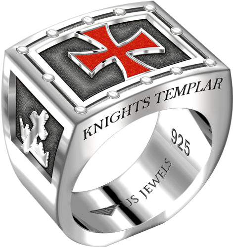 Knights Templar Ring Freemason Heavy Sterling Silver