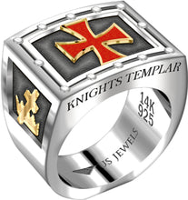 Knights Templar Ring Band Freemason Two Tone For Men