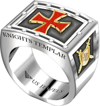 Knights Templar Ring Band Freemason - Full View