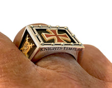 Knights Templar Ring Freemason Two Tone For Men
