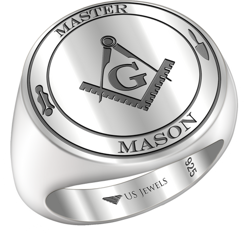 Men's Master Mason 0.925 Sterling Silver Freemason Masonic Ring