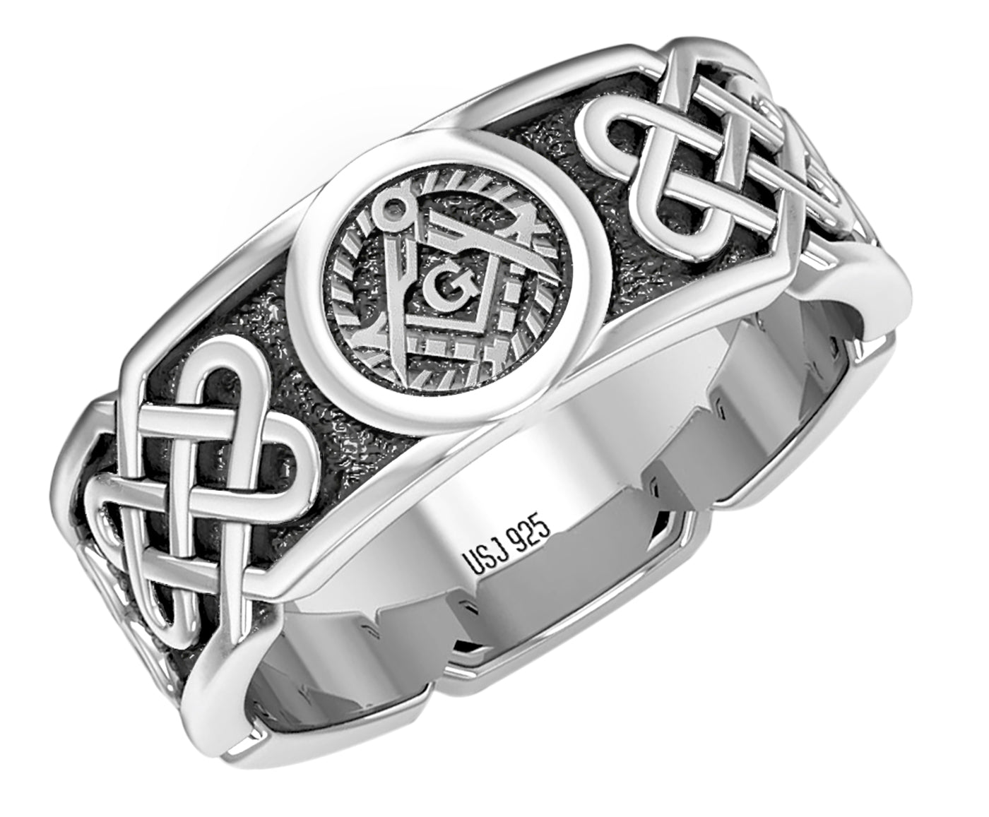 Master Mason Ring - Celtic Ring Band In Sterling Silver