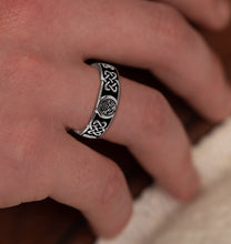 Master Mason Ring Band In Celtic Design - Worn On Finger