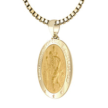 St Christopher Necklace In 14K Gold - 1.0mm Box Chain