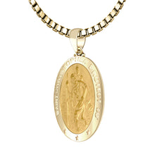 St Christopher Necklace In 14K Gold - 1.5mm Box Chain