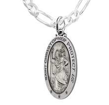 Sterling St Christopher Oval Antique Necklace