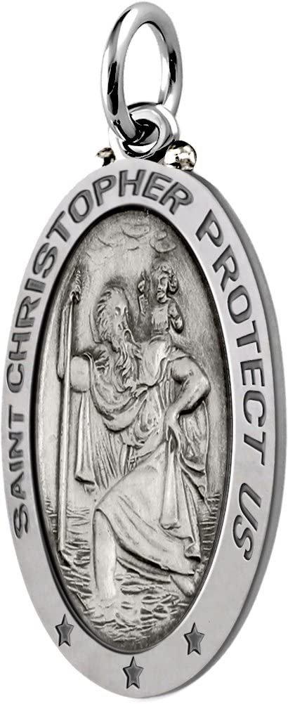 Sterling Silver St Christopher Oval Antique 1