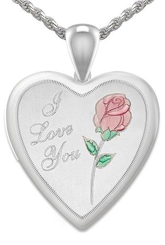 Heart Necklace - Rose Necklace With I Love You & 2 Photo