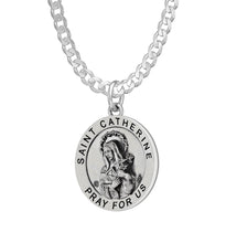 Pendant Necklace Of Silver With St Catherine & Curb Chain