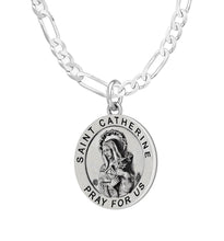 Pendant Necklace Of Silver With St Catherine - Figaro Chain