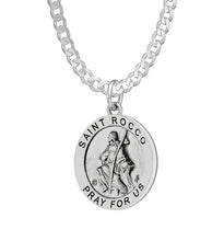 Pendant Necklace With Saint Rocco & 2.2mm Curb Chain