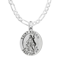 Pendant Necklace With Saint Rocco & 2.3mm Figaro Chain