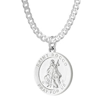 Pendant Necklace With Saint Rocco - 2.2mm Curb Chain