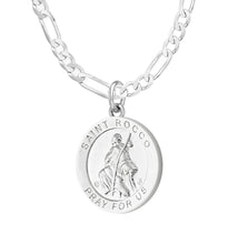 Pendant Necklace With Saint Rocco - 2.3mm Figaro Chain