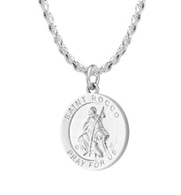 Pendant Necklace With Saint Rocco - 2.3mm Rope Chain