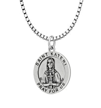 Pendant Necklace With St Kateri Photo & Box Chain