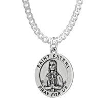 Pendant Necklace With St Kateri Photo - Curb Chain