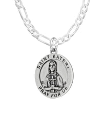 Pendant Necklace With St Kateri Photo & Figaro Chain