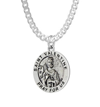 Pendant Necklace With St Valentine - Curb Chain