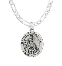 Pendant Necklace With St Valentine & Figaro Chain