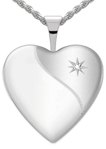 Diamond Necklace - Heart Locket Of Silver With 2 Photo