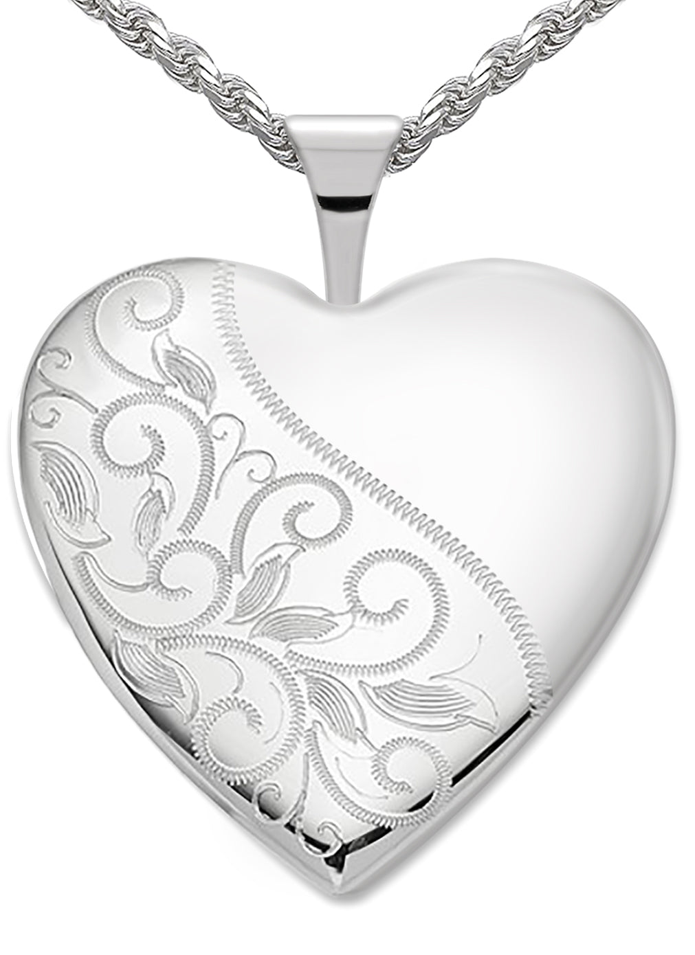 Heart Necklace - Silver Pendant In Swirl With 2 Photo