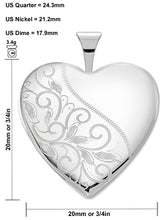 Heart Necklace In Swirl With 2 Photo - Size Details