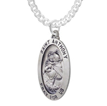 Saint Anthony Necklace In Oval With Curb Chain