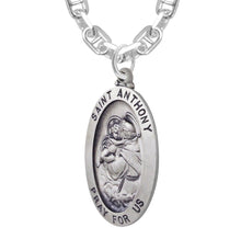 Saint Anthony Necklace In Oval For Men With Marine Chain