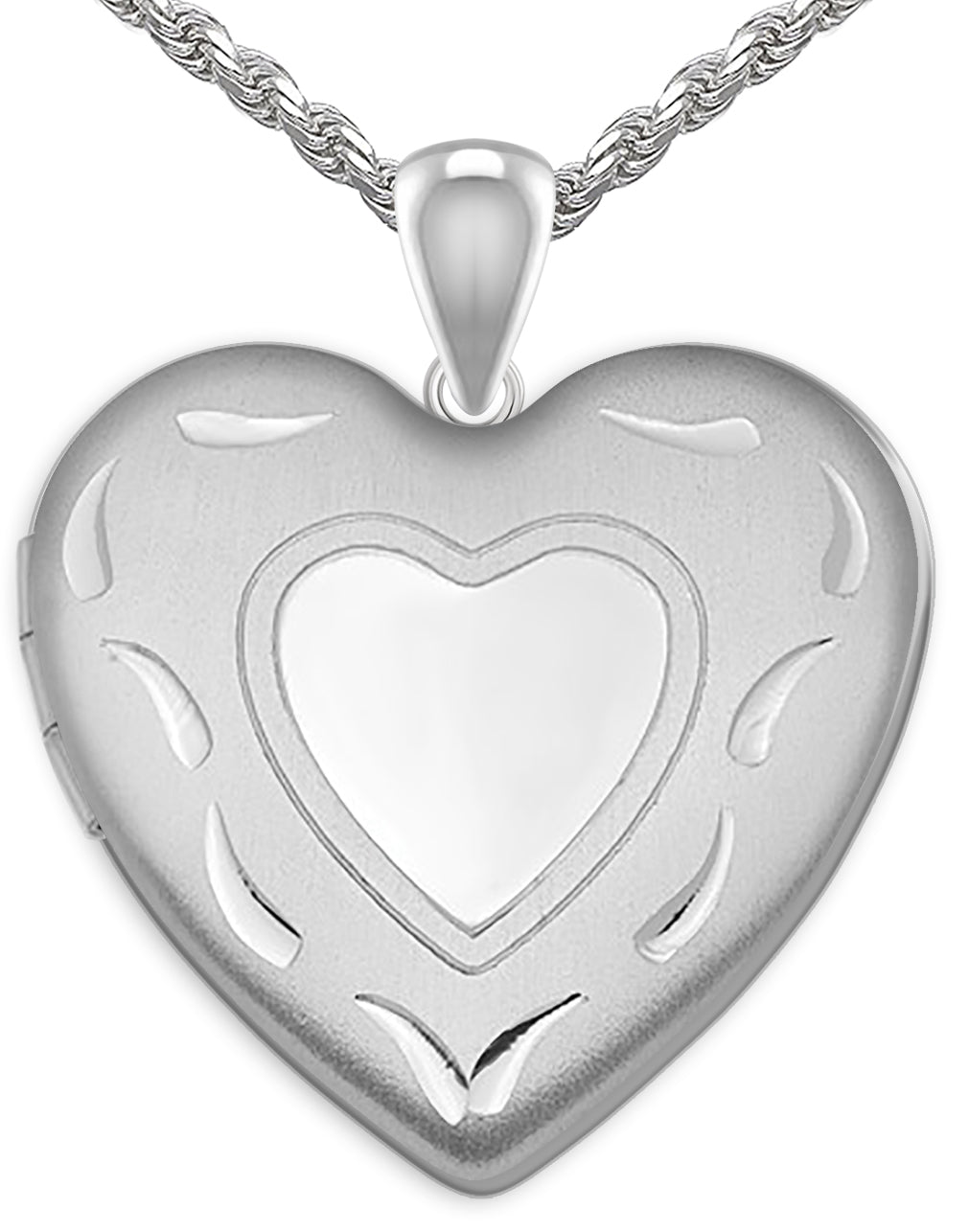 Heart Necklace - Silver Pendant With 2 Photo For Ladies