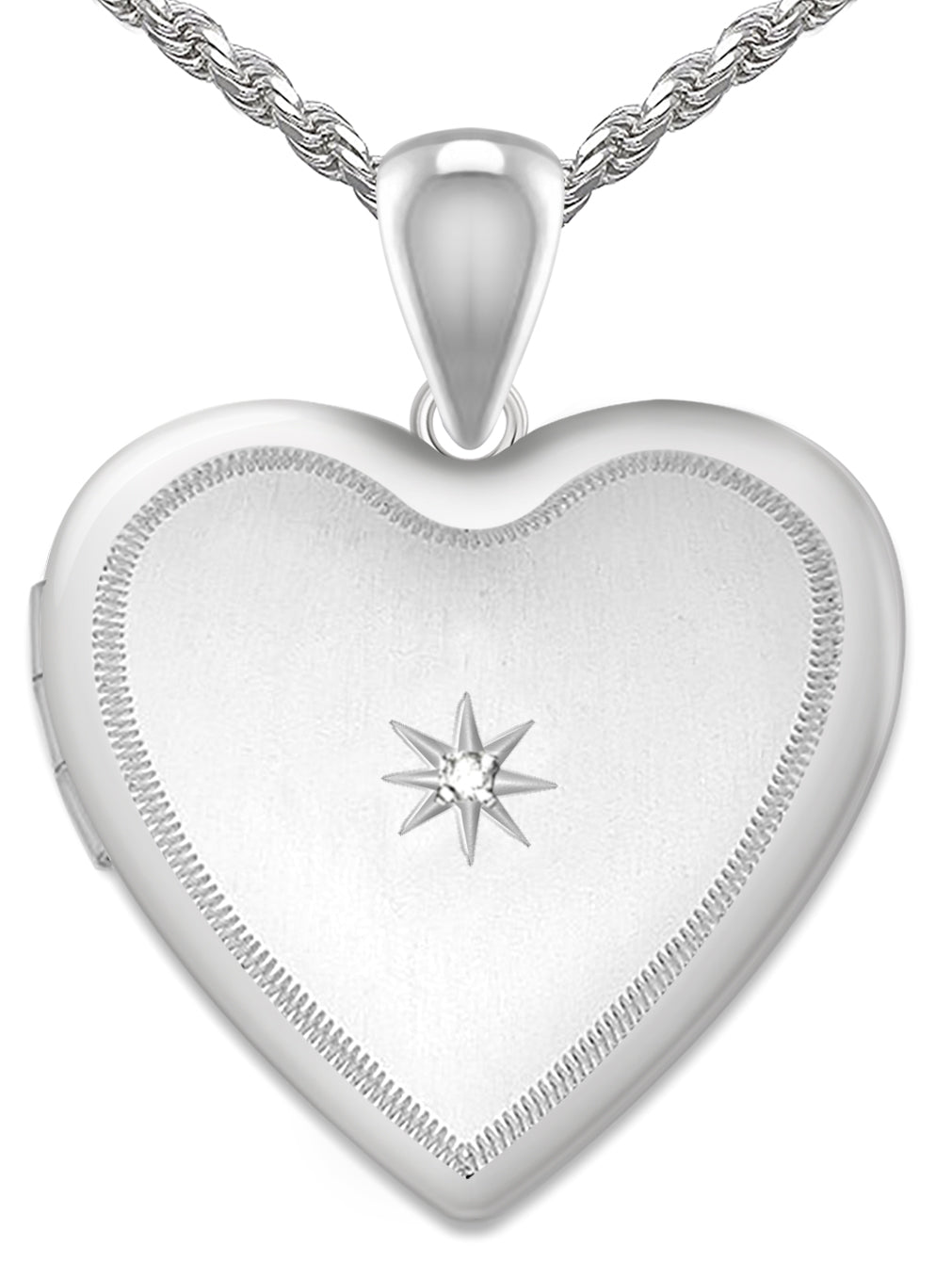 Diamond Necklace - Heart Locket With 2 Photo For Ladies