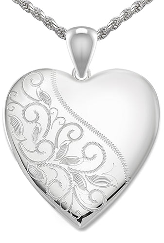 Heart Necklace - Silver Pendant In 2 Photo Scrolled Heart