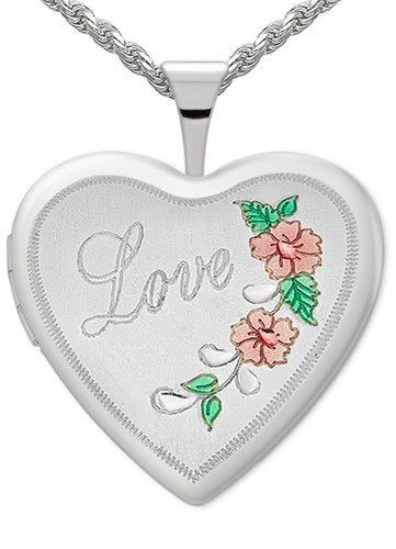 Heart Necklace - Love Necklace With 2 Photo Enamel Love
