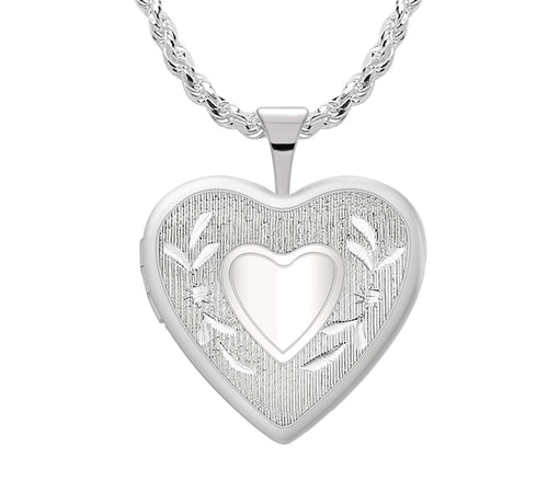 Heart Locket - Silver Pendant In 2 Photo For Ladies