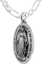 Virgin Mary Necklace Of Silver In Oval - 3.4mm Figaro Chain