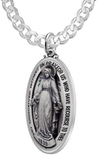 Virgin Mary Necklace Of Silver In Oval - 3.6mm Curb Chain