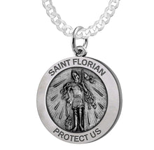 Round Pendant Necklace With St Florian Image & Curb Chain