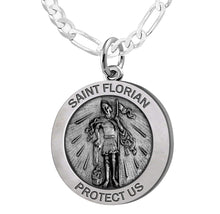 Round Pendant Necklace With St Florian Image & Figaro Chain