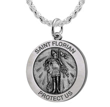 Round Pendant Necklace - St Florian Necklace With Chain