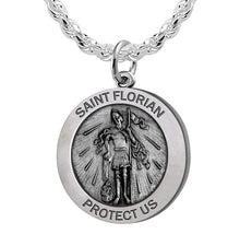 Round Pendant Necklace With St Florian Image & Rope Chain