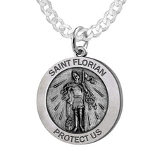 Round Pendant Necklace With St Florian Image - Curb Chain