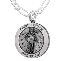 Round Pendant Necklace With St Florian Image - Figaro Chain