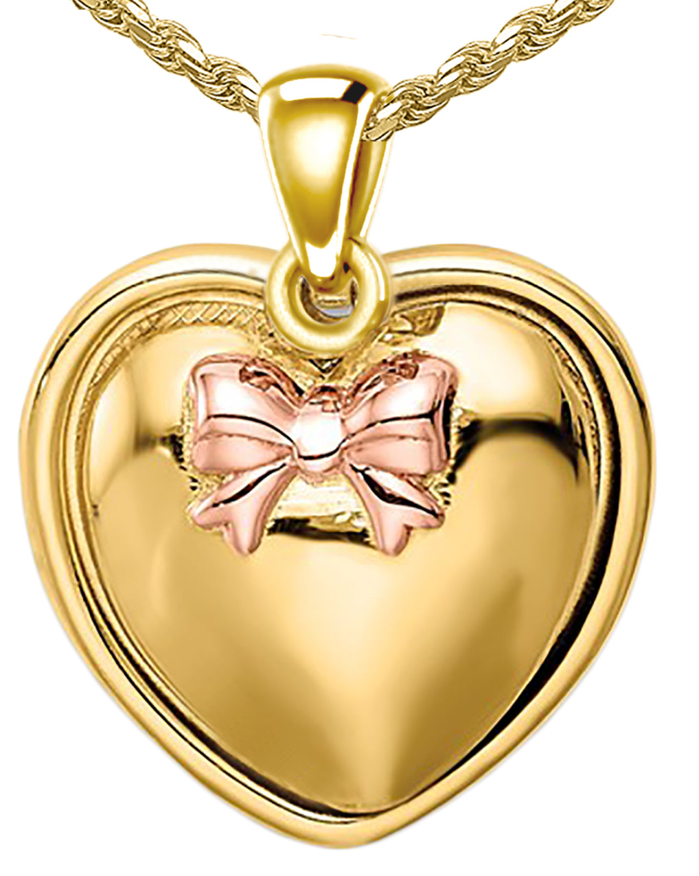 Heart Pendant Necklace - Rose Pendant With I Love You