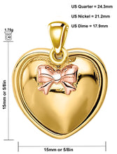 Heart Pendant Necklace In Yellow Gold - Size Description