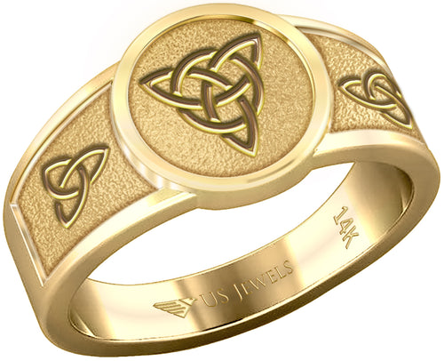 Yellow Gold Irish Celtic Trinity & Triquetra Knots Ring Band